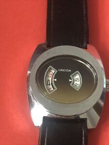 Oriosa vintage Mechanical digital watch jump hour Swiss made