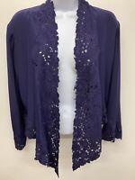 Nicole Farhi embroidered navy shrug 100% silk - size UK 14