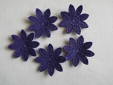 Iron on / sew on Purple, Guipure Lace ,Applique, Daisy-Flower Motifs x 5 (4cm)