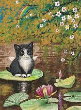 1.5x2 DOLLHOUSE MINIATURE PRINT OF PAINTING RYTA 1:12 SCALE KITTEN TUXEDO CAT