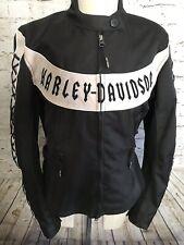 Harley Davidson Women's Biker Jacket Lace Up Sleeves Medium Black Pink
