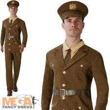 WW1 Soldier Mens Fancy Dress First World War Army Uniform Adults Officer Costume