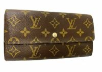 Louis Vuitton Monogram Browns Portefeuille Sarah Long Wallet LV A-1004