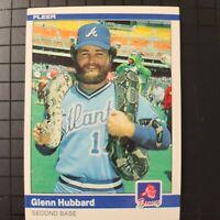 1984 FLEER GLENN HUBBARD ATLANTA BRAVES #182  SNAKE BARNEY RUBBLE Pack Fresh