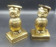 Brass colored Cast iron Graduation Gift Scholar Owl Vintage Bookend