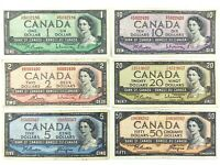 Lot of Canadian 1954 Banknotes 88 Dollars Face Value Circulated Canada S920