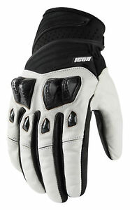 ICON Motosports KONFLICT Suede/Neoprene Motorcycle Gloves (White) Choose Size