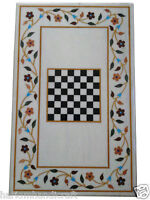 Size 3'x2' Marble Dining Table Top Inlay Mosaic Floral Chess Art Home Decor H987