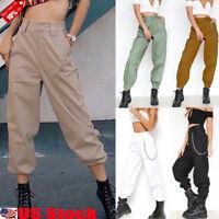 Stylish Womens Casual Chain Sport Combat Hip-pop High Waist Harem Pants Trousers