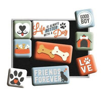 Retro 9 pc Metal Magnet Set 'BETTER WITH A DOG' Vintage 50's Images