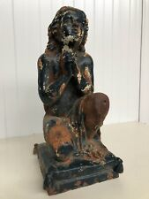 Stunning Cast Iron Praying Kneeling Boy/Putti  Garden Statue