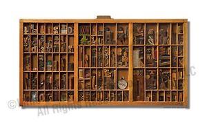 ART PRINT: NEWEST! Actual Size Lg. Hamilton Wood Type Drawer Art PRINT