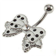 Navel Piercing Stainless Steel  Butterfly Small Bow Tie Belly Button Bar Ring b8