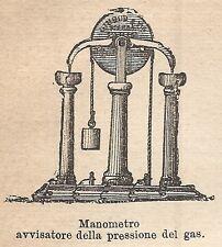 A9256 Manometro pressione Gas - Xilografia - Stampa Antica del 1906 - Engraving