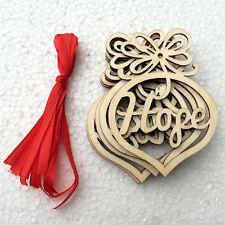 6pcs Wood Embellishments Rustic Christmas Tree Hanging Ornament Decor A2H