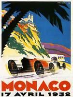 SPORT ADVERT MONACO 1932 GRAND PRIX MOTOR ART PRINT POSTERBB7414B