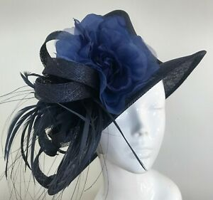 Exclusive Navy Designer Millinery by Hat Couture Wedding Bridal Race Hat
