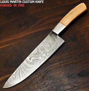 Louis Martin Custom Handmade Damascus Steel Olive Wood Hunting Chef Knife