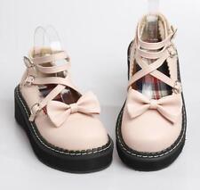 womens Lolita Sweet Creepers Cross Strap Platform Shoes bowknot Mary Jane Pumps