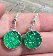 SPARKLING GREEN DRUZY RESIN ROUND DANGLE EARRINGS 12MM
