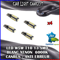4 x ampoule Veilleuse LED W5W T10 13 SMD BLANC XENON 6000k voiture auto moto