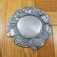 Antique Pewter Art Nouveau Fruit Jewelry Card Cup Coaster Tray Etain Zinn Italy