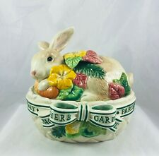 New listing Fitz&Floyd Ceramic Easter Rabbit on Basketweave Herb Garden Flowers Covered Box