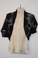 MONSOON .. BLACK CROCHET BOLERO CARDIGAN ..  .. UK 10 .. EXCELLENT CONDITION
