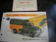 Fiche fascicule + Certificat Studebaker M camionnette bâch  Dinky Toys 25Q Atlas