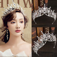 Baroque Rhinestone Crystal Beaded Headband Tiara Crown Wedding Hair Accessories
