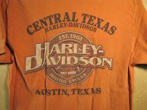 Harley Davidson Short Sleeve T-Shirt Central Texas H-D Austin TX Size Med Orange