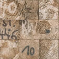 Rasch Wood Block Square Wallpaper Graffiti Motif Faux Effect Realistic 934304