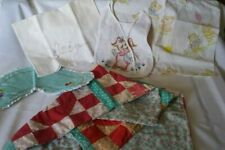 Lot of Vintage Baby Linens Embroidered Pillowcase, Quilt, Bib