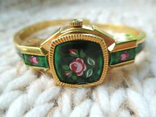 Itraco Rose Ladies Rare Vintage Enameled Swiss Made Gold Tone Working Watch