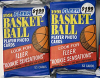 Two (2) 91 Fleer Basketball 53 Card Sealed Jumbo Pack-Free Shipping