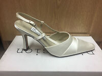 Ivory satin bridal bridesmaid wedding shoes size 3,3.5,4,4.5,5 pure and precious