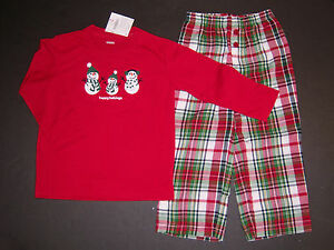 NWT Gymboree Happy Holidays 2T Christmas Snowman Family Plaid Pajama Set Gymmies