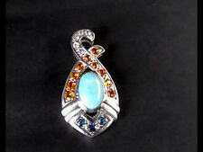 LARIMAR WITH  WHITE AND GOLDEN,AND BLUE SAPPHIRES PENDANT HAND DONE