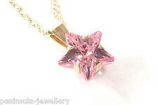 "9ct Gold Pink CZ Star Pendant and 18"" Chain Gift Boxed Made in UK"