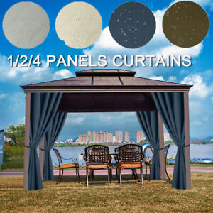 4 Panels Waterproof Eyelets Insulated Outdoor Garden Patio Curtain Thermal Draps