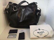 PRADA Tote Bag Large NEW- Black Leather Soft Calf Handbag Silver Hardwear BR3789