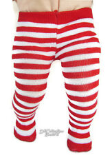 Red White Striped Winter Thick Tights for Bitty Baby + Twins Doll Clothes