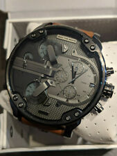 NEW Diesel Men's Mr. Daddy 2.0 Chronograph Brown Leather Steel Watch DZ7413 57mm