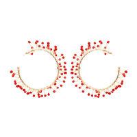 Boucles d'oreilles Doré Gros Anneau Creole Cristal Rouge Fait Main M5