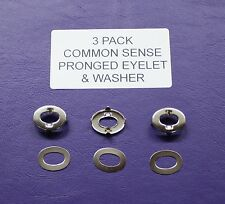 3 pack COMMON SENSE (BREWSTER) FASTENERS with PRONGED EYELET & WASHER (TNSAC55)