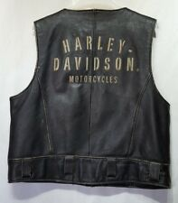 Vintage Harley Davidson Mens Zip Up Leather Vest Spell Out Script Size XL (U5)