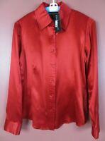 TB08088- NWT DANA BUCHMAN Women's Silk Long Sleeve Blouse Deep Red 10 $200