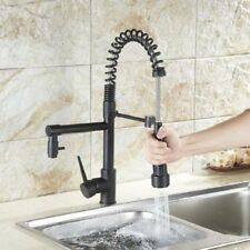 Kitchen Faucet Spring Oil Rubbed Bronze Black Pull Down Dual Spout Mixer Tap