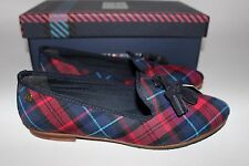 NIB TOMMY HILFIGER Size 7 Women's Red & Blue Plaid Suede Tassel ANGIE Loafer