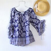 New~Blue White Black Crochet Lace Peasant Blouse Shirt Ruffle Boho Top~Size XL